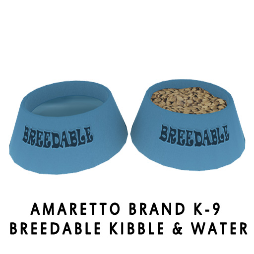 Amaretto Brand K-9 Breedable Kibble & Water