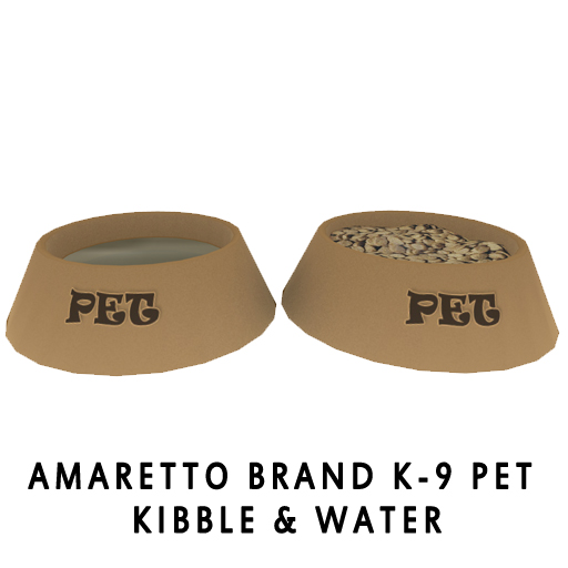 Amaretto Brand K-9 Pet Kibble & Water