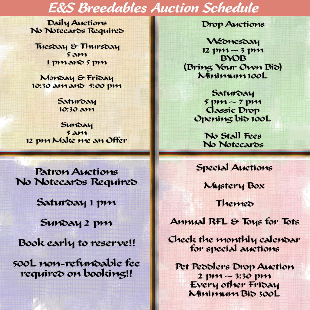 E&S Breedables Auction Hours Effective January 1st 2015